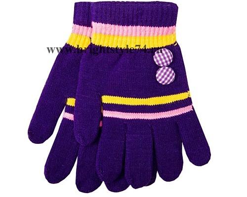 Перчатки Пуговка, фиолетовые