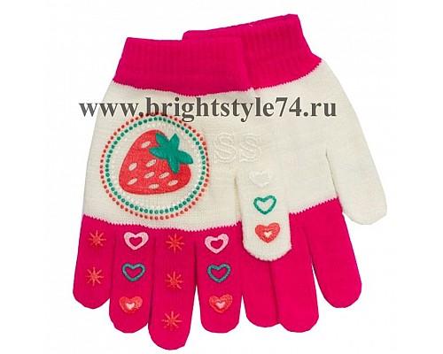 Перчатки подростковые, Клубничка, розовые