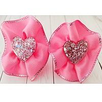 Резиночка для волос,  сердечко, розовый