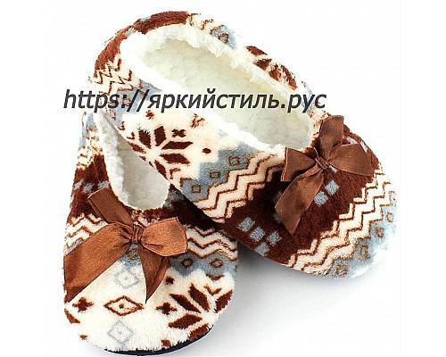 Тапочки плюшевые,орнамент, коричневые