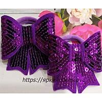 Резиночка бантик с пайетками, фиолетовый