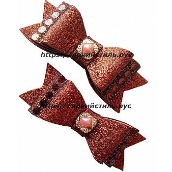 Заколка бантик тройной, коричневый