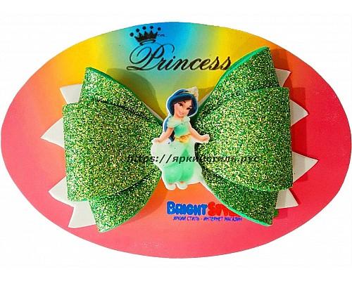 Заколка бантик Принцесса, зеленая