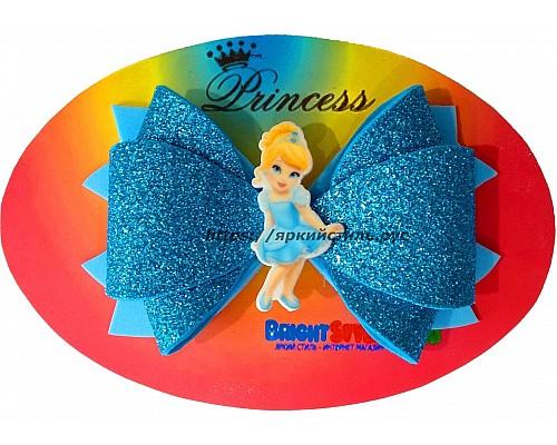 Заколка бантик Принцесса, голубая