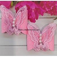Заколка бабочка, кружево, розовая