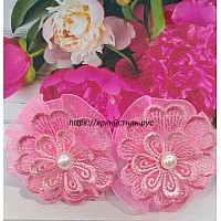 Заколка цветочек, кружево, розовая