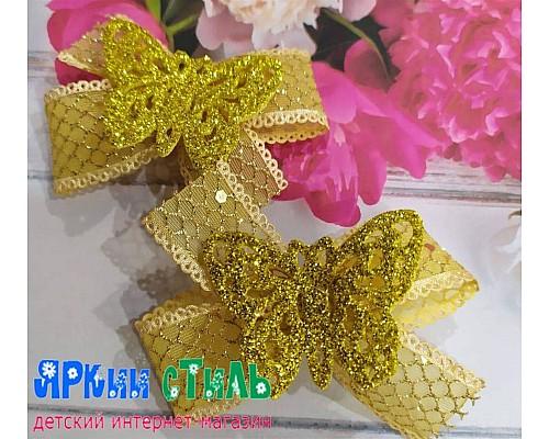 Бантик для хвостиков, бабочка, золото