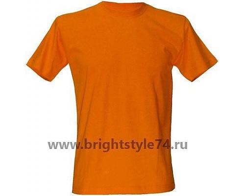 Футболка однотонная, оранжевая