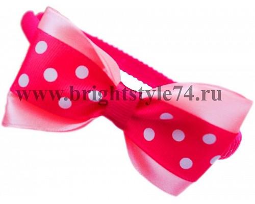Ободок бантик в горошек, яркий розовый